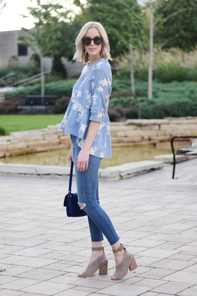 hi low hem peplum top with embroidery, jeans, marc fisher vida sandals, madewell cropped denim, fall outfit idea inspiration