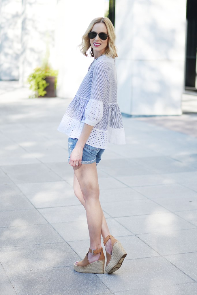 eyelet peplum top with levi's denim cutoff shorts