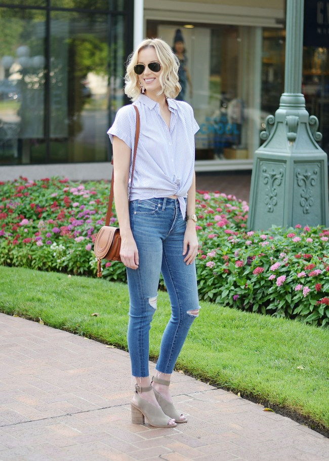 madewell jeans, madewell tie top, chloe bag, marc fisher vida shoes