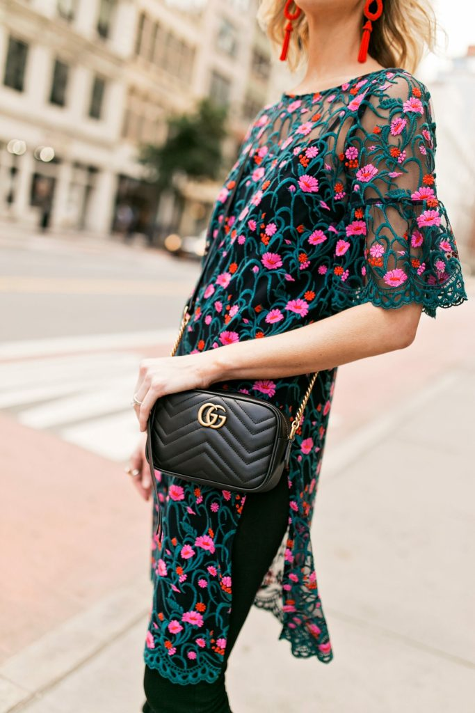 embroidered side slit tunic, gucci marmont bag
