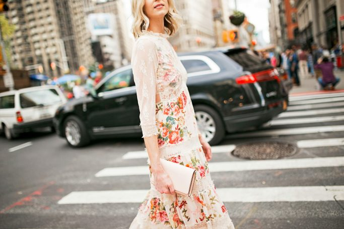 floral and lace dress with long sleeve sheer sleeves
