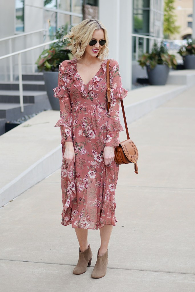 floral midi dress with ruffles