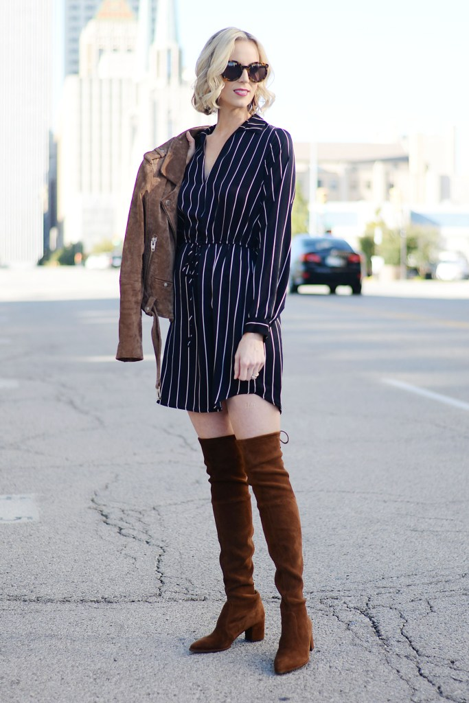 navy striped dress with tank otk boots and suede moto jacket