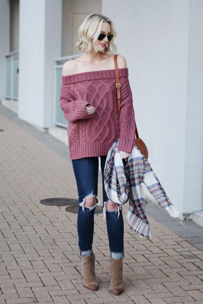 slouchy sweater with cuffed jeans and boots