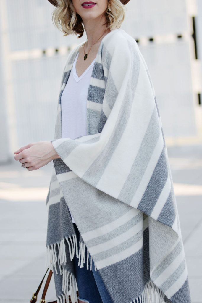 neutral striped grey poncho