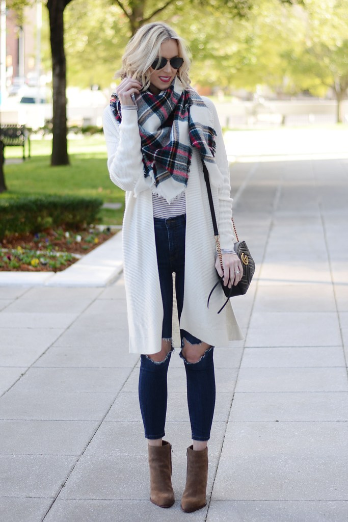 cream cardigan, striped t-shirt, plaid blanket scarf, distressed jeans, ankle booties