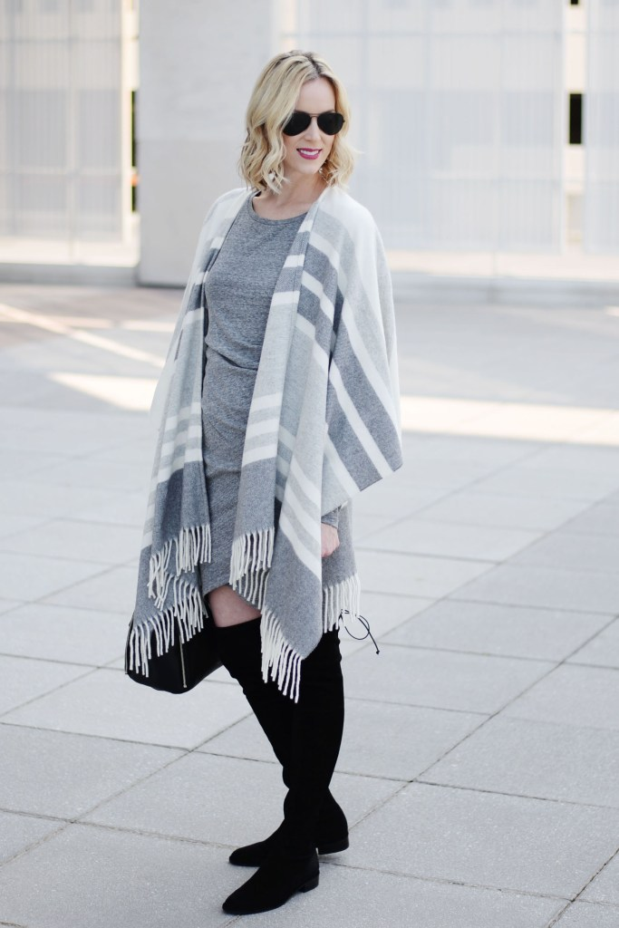 neutral fall outfit idea, dress with poncho and over the knee boots