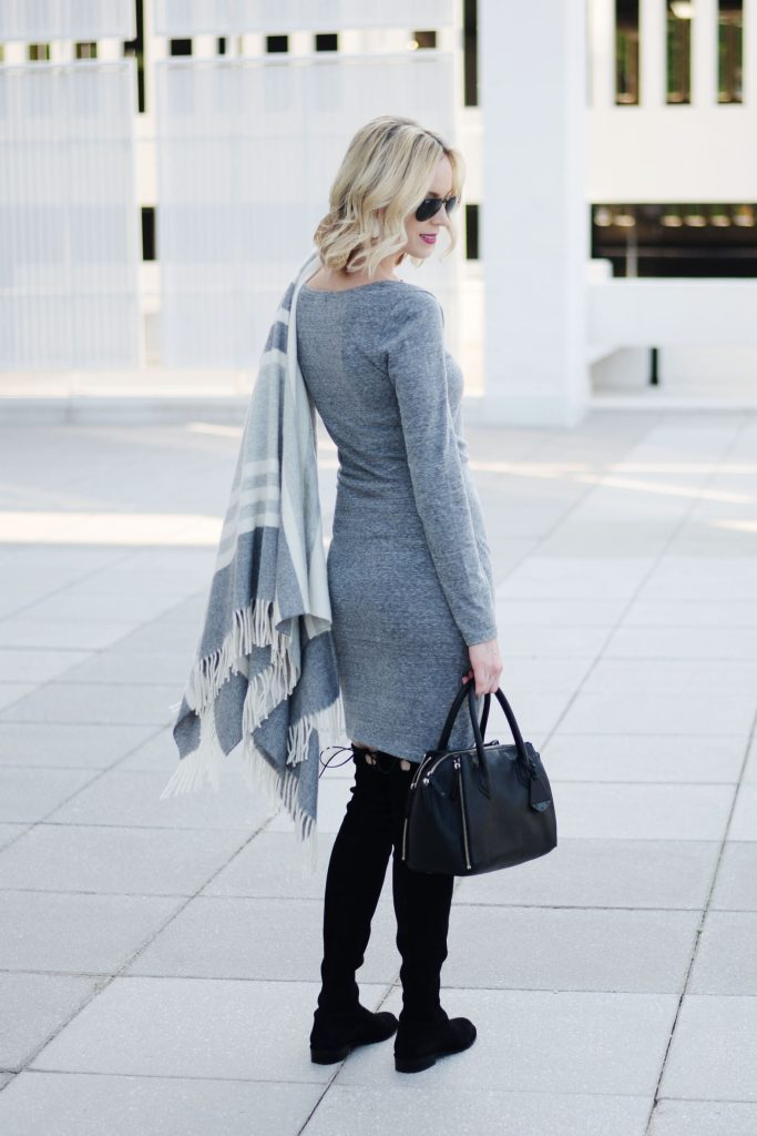 fitted ruched grey dress with black over the knee boots