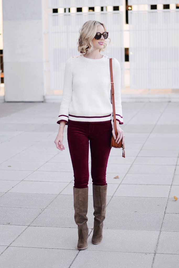 burgundy and cream casual holiday outfit idea