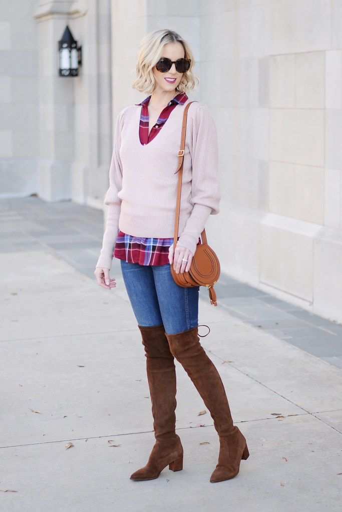 easy fall casual outfit, plaid shirt, jeans, brown otk boots, sweater, chloe bag