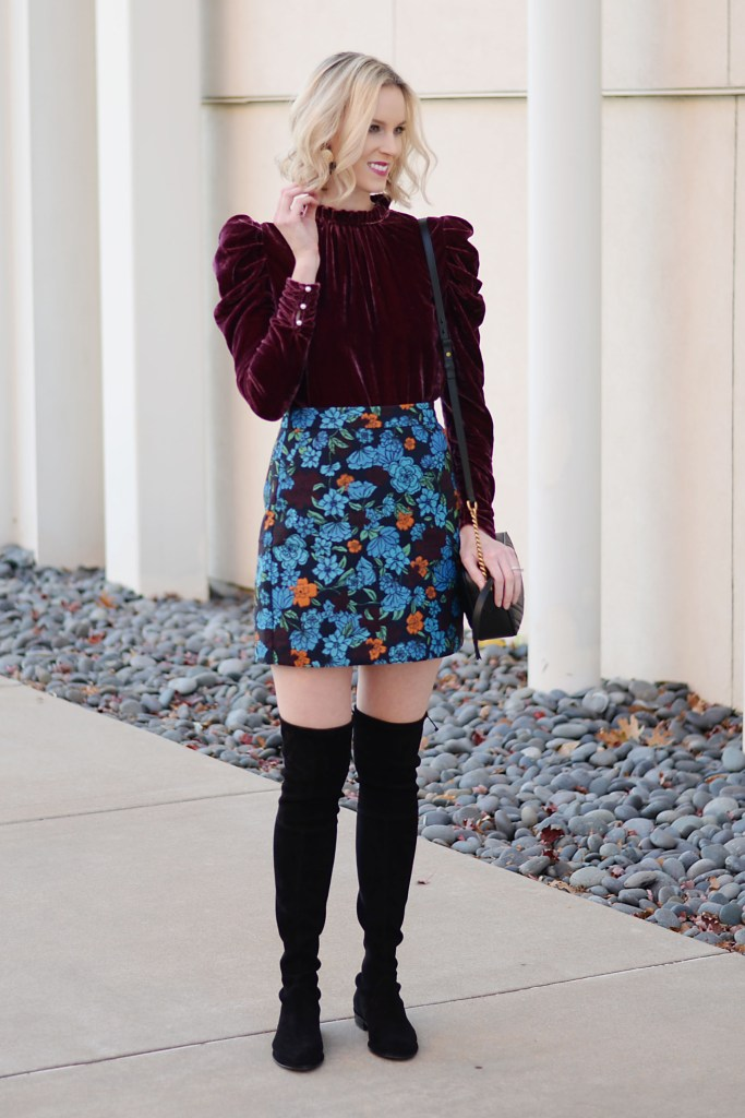 velvet top and skirt for holiday parties