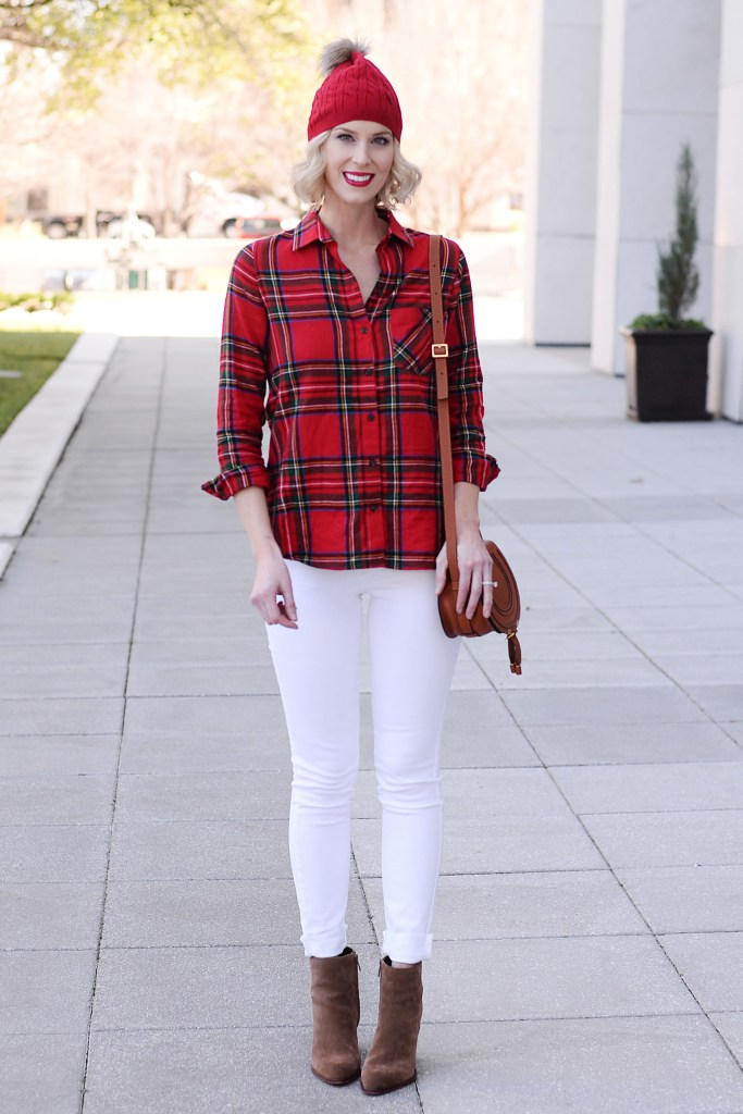 the perfect Christmas plaid, red flannel with white jeans and brown ankle booties