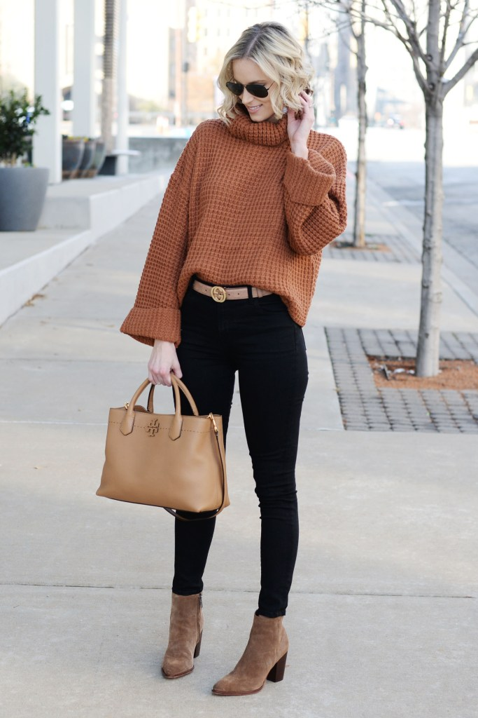 black and tan outfit, easy winter outfit idea