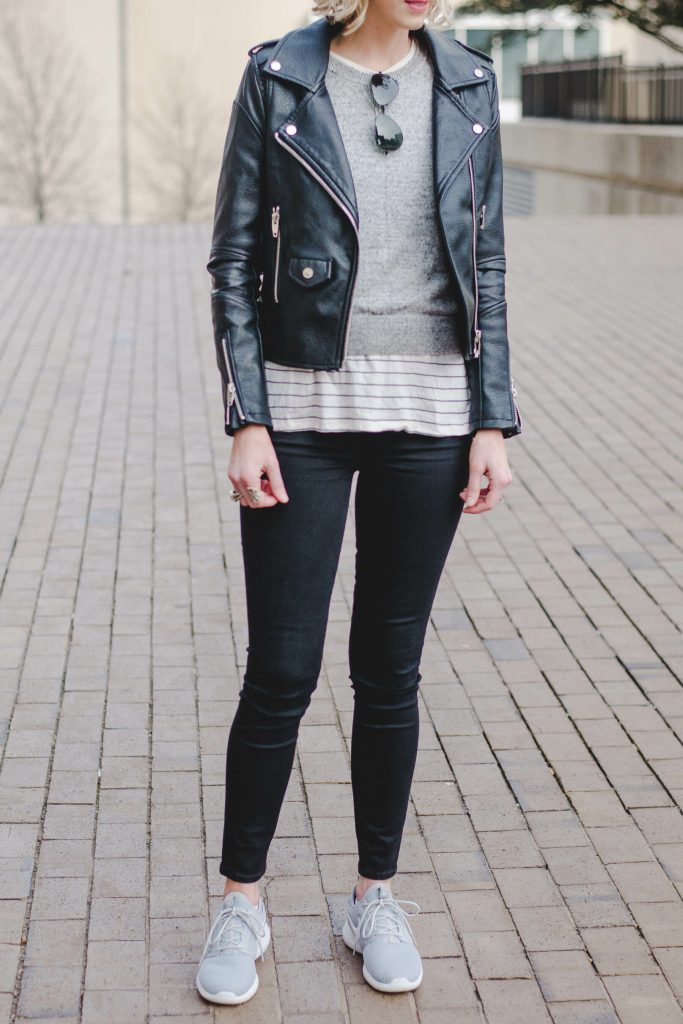 casual leather jacket outfit idea