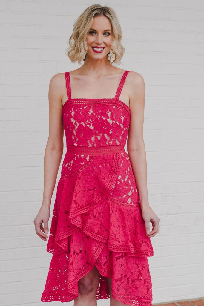 gorgeous coral lace tiered midi dress with asymmetrical hem