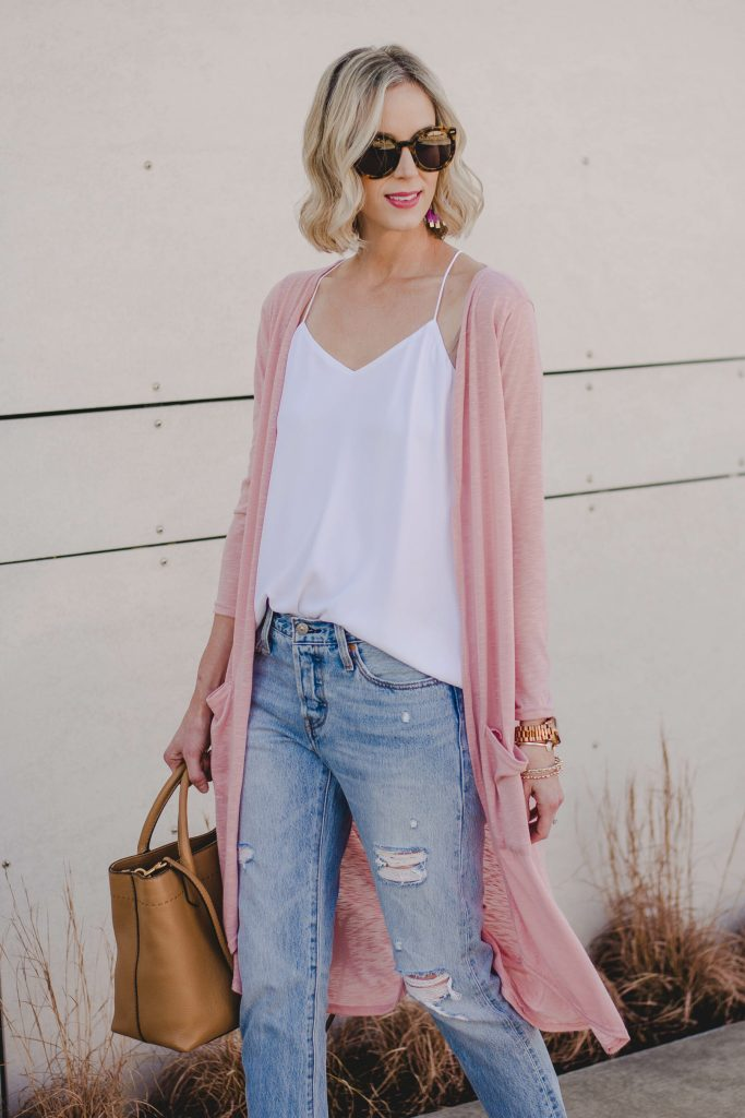 duster and cardigan make for easy spring layers