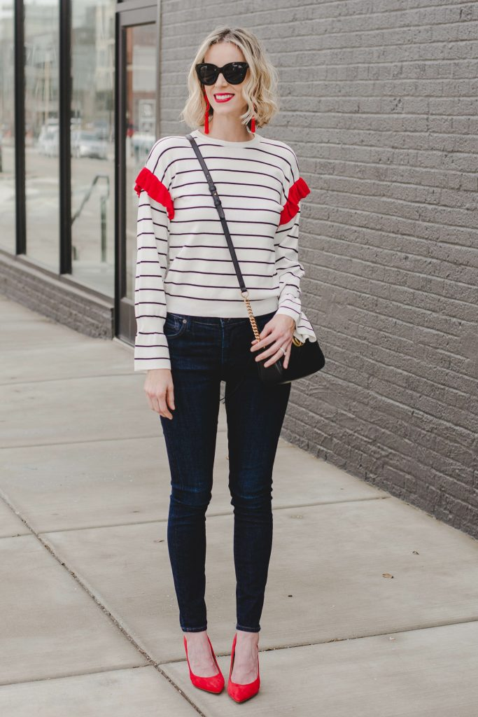 cute date nigh outfit idea, skinny jeans, heels, and cute top