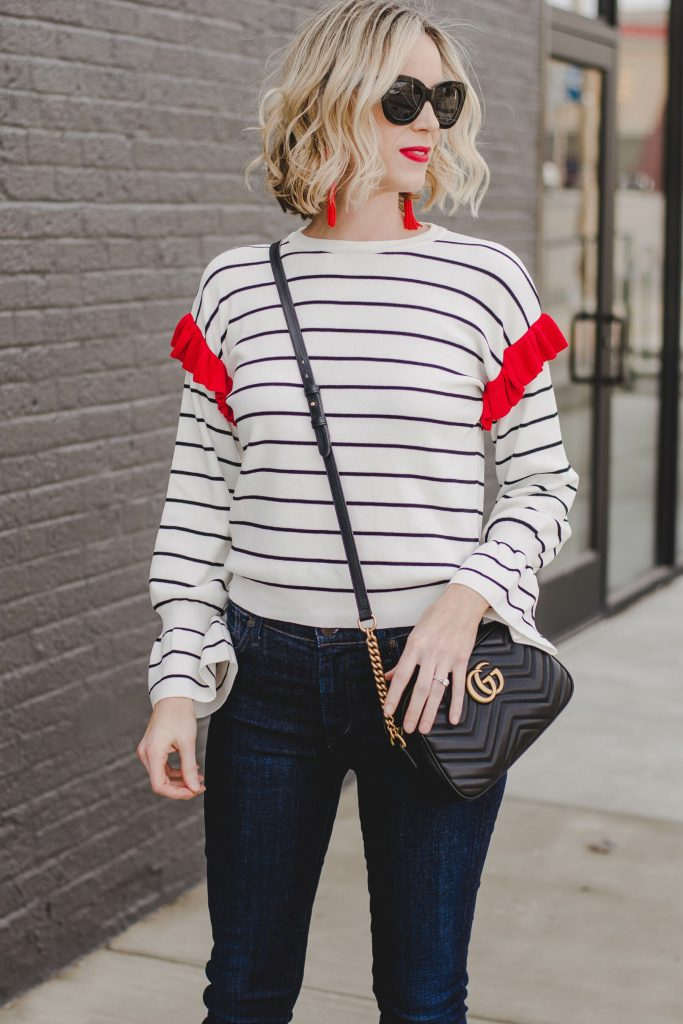 wavy blonde long bob, hair, cute striped top