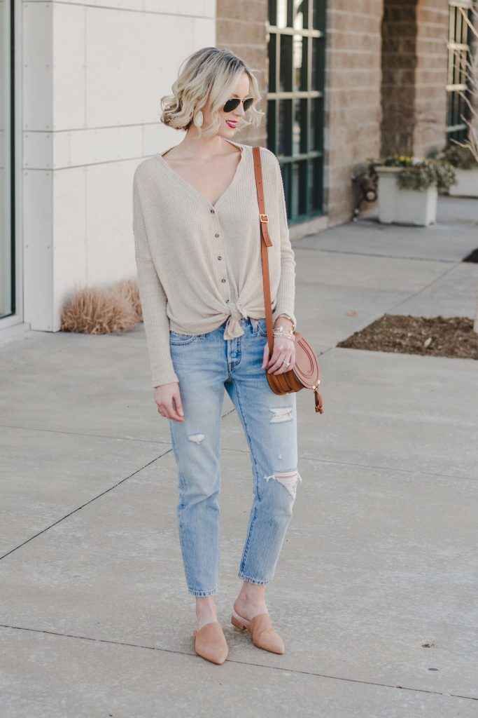 long sleeve thermal with Levi jeans and tan mules