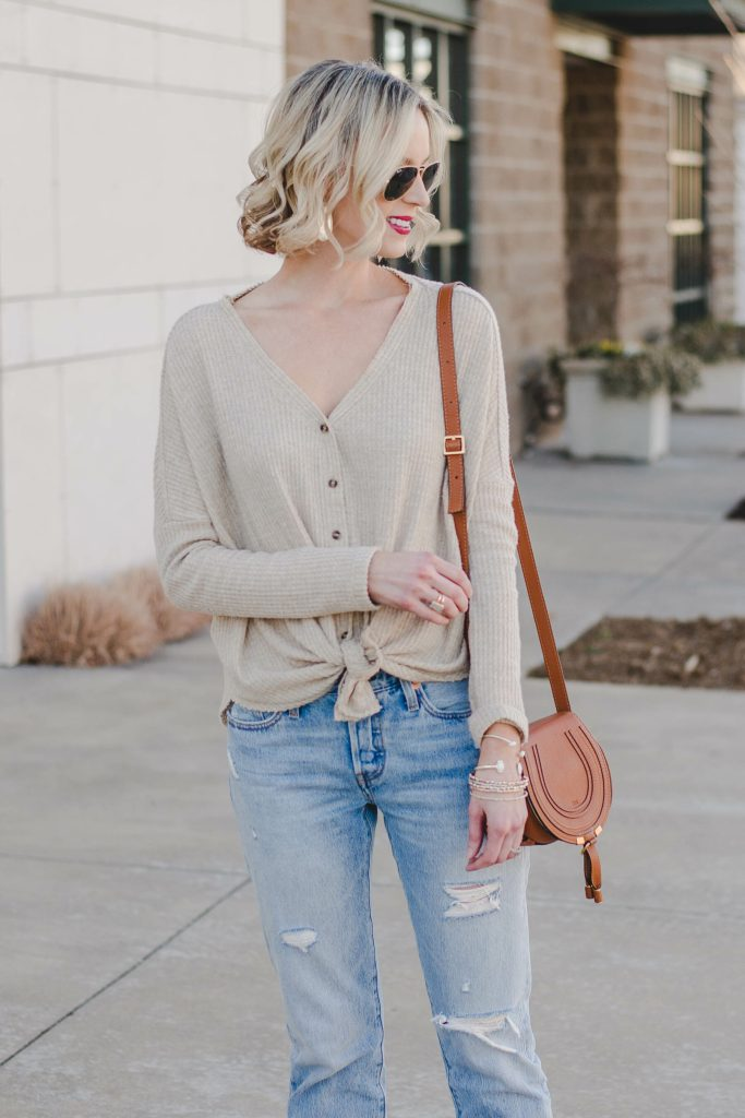 button front thermal with tie detail and boyfriend jeans