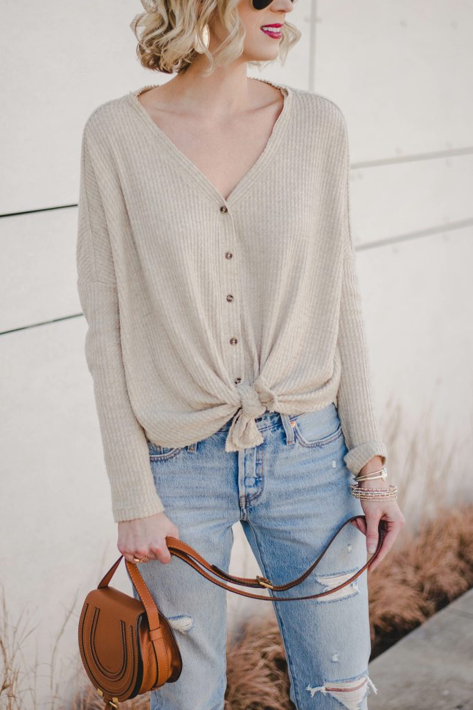 casual tie front top and distressed jeans with Chloe mini marcie bag