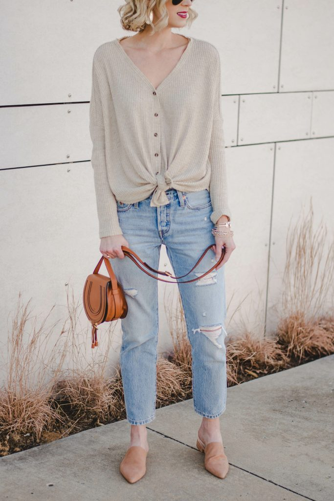 button front thermal, boyfriend jeans, tan slide mules