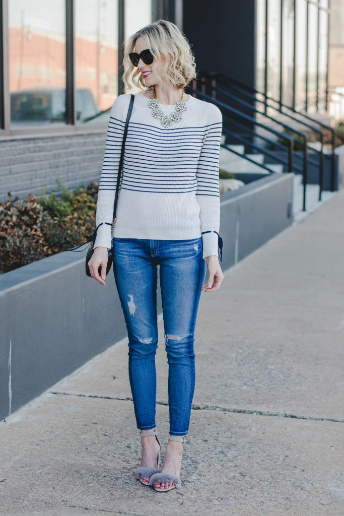 stripes and fur, spring date night outfit idea