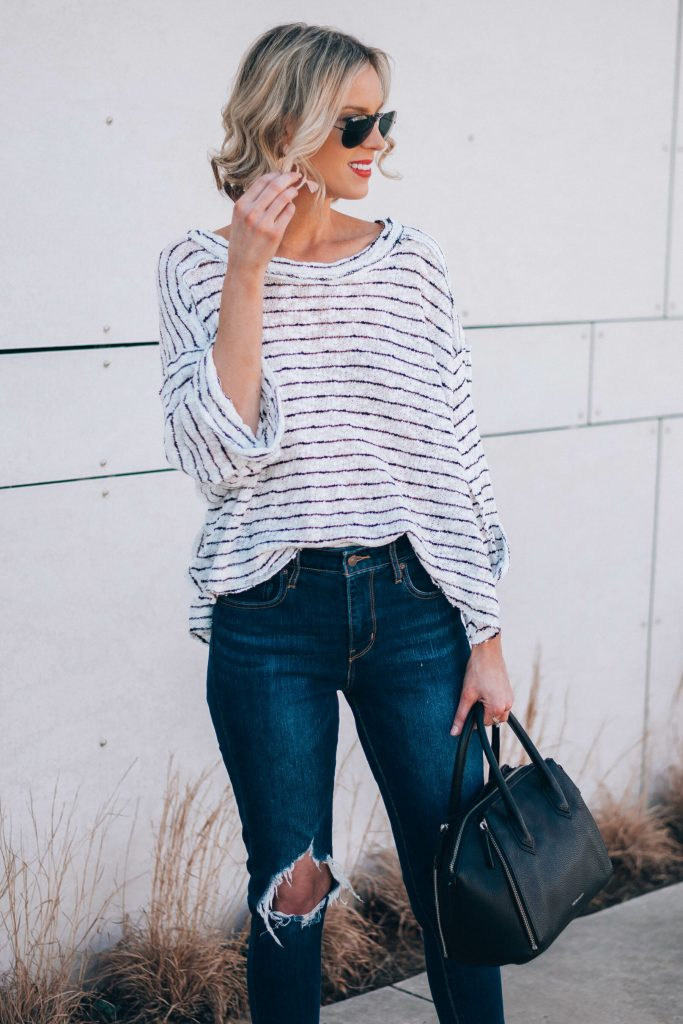 slouchy striped top with jeans