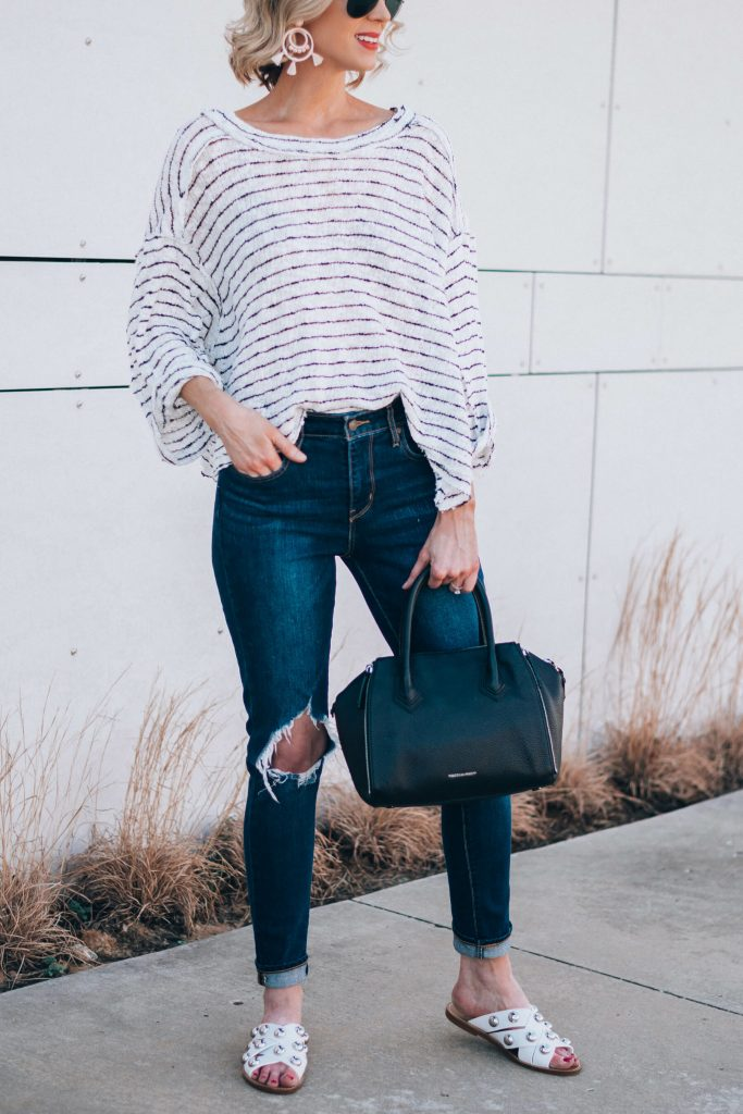 easy casual outfit, comfy striped top with distressed denim
