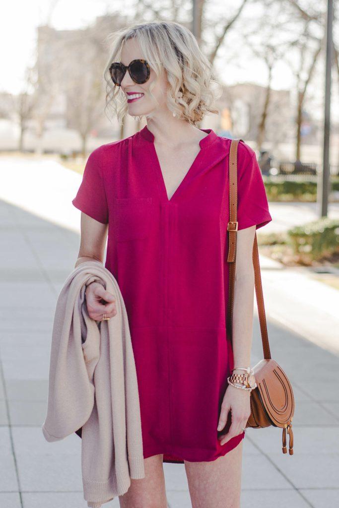 burgundy shift dress with v-neck