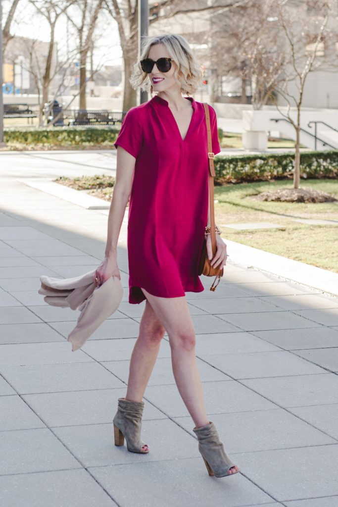 easy spring dress with booties