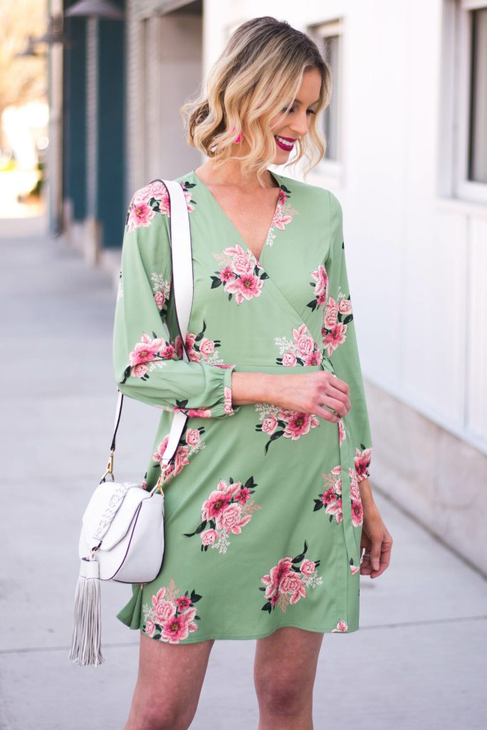 green and prink wrap dress
