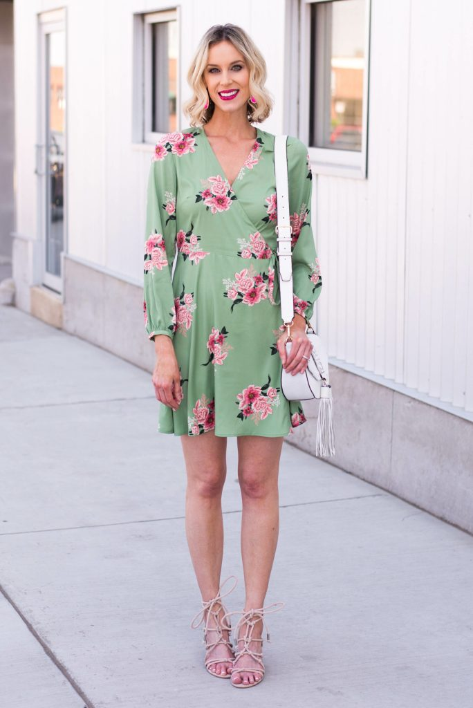 floral wrap dress with lace up heeled sandals