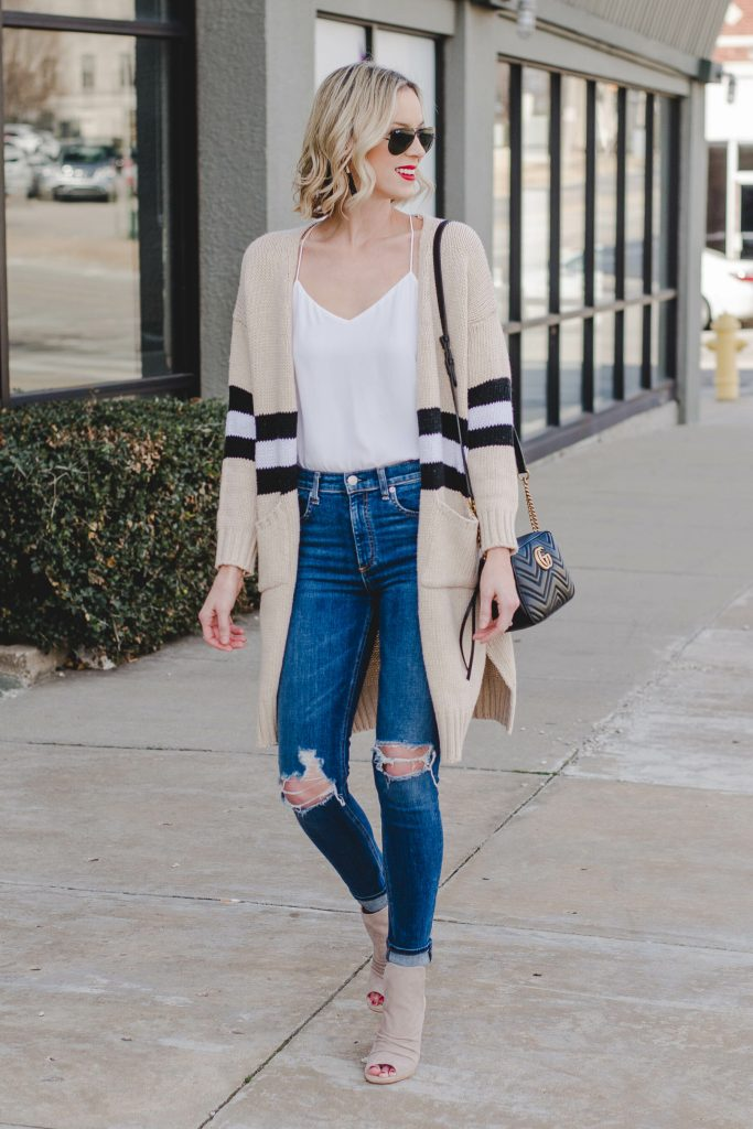 everyday basics, easy spring outfit, cardigan and jeans with peep toe booties