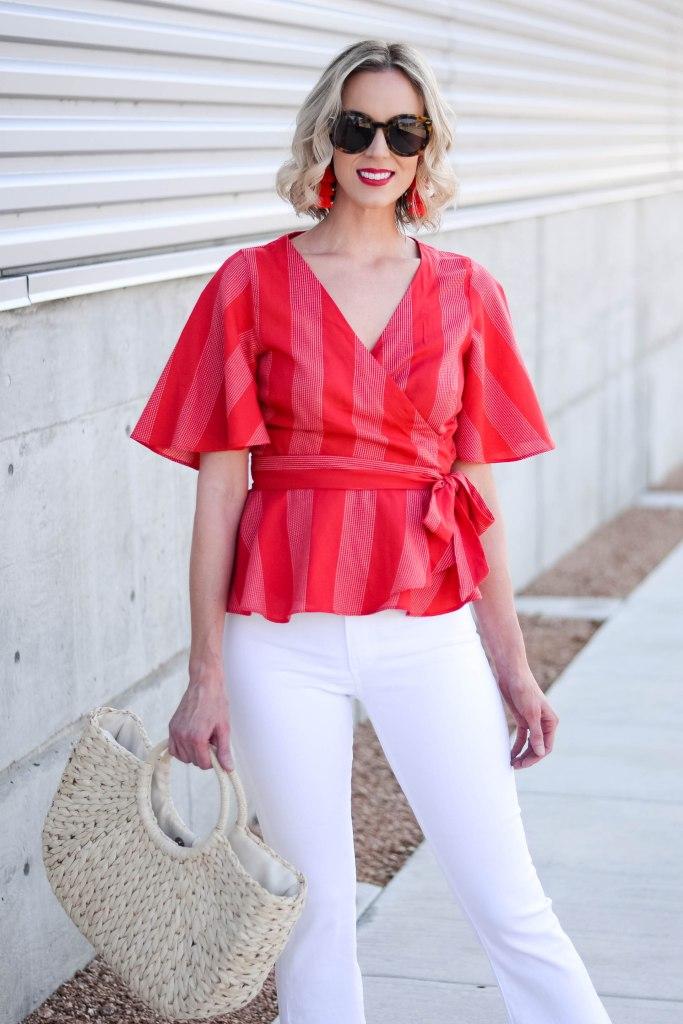 gorgeous red wrap style top with kimono sleeves