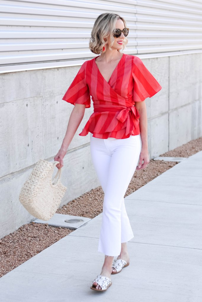 white cropped flares with red fitted peplum top