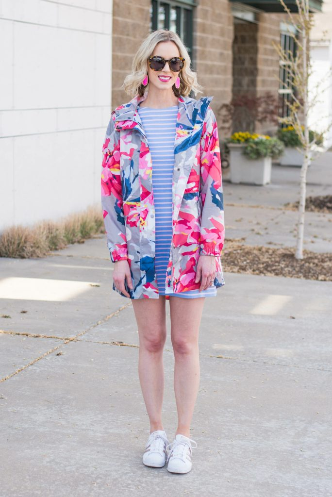 striped dress and floral rain jacket