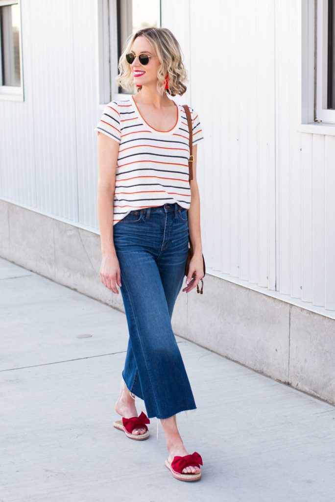 Cropped jeans or pants can be an easy and fun idea when wondering what to wear if you don't like shorts.