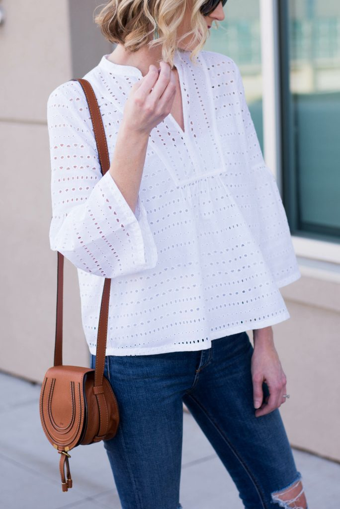 white eyelet top with bell sleeves