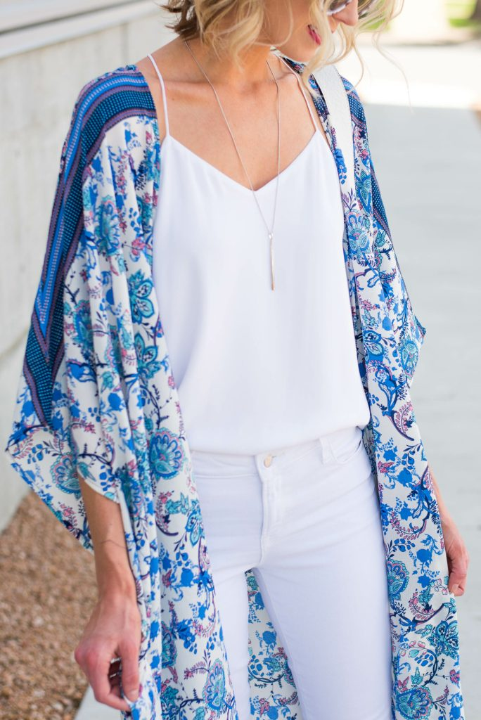 gorgeous blue and white print kimono
