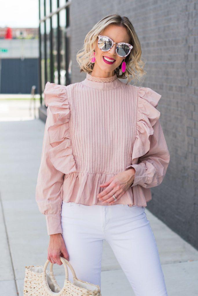 ruffle pink top
