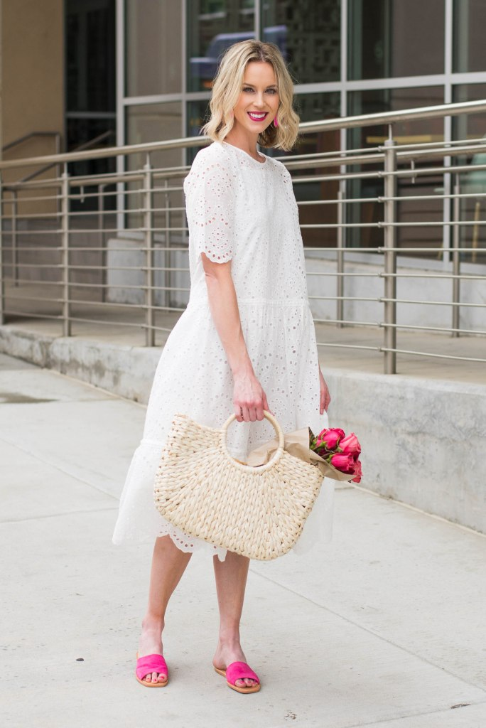 white dress for spring with pink roses and pink shoes