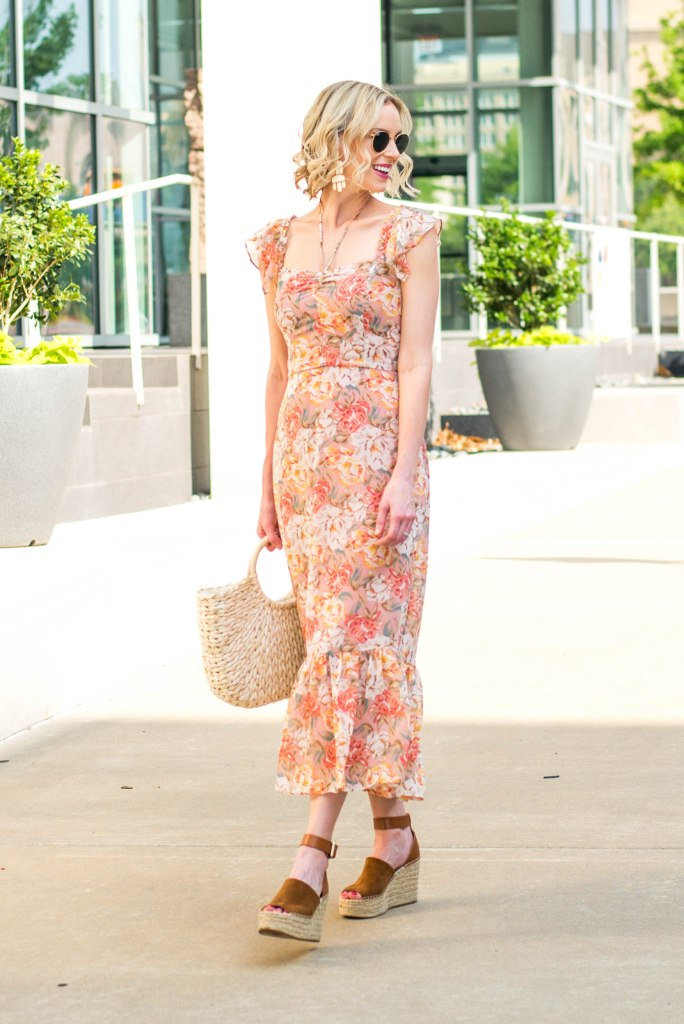 gorgeous floral midi dress