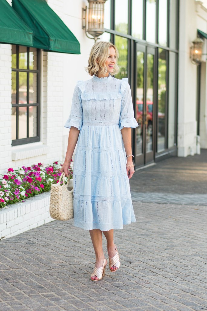 ruffle sleeve tiered midi dress