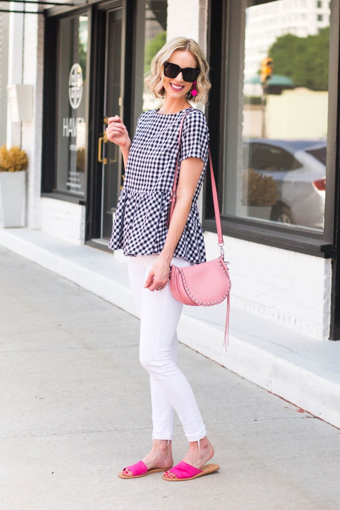 cute gingham peplum top with white jeans and pink slides
