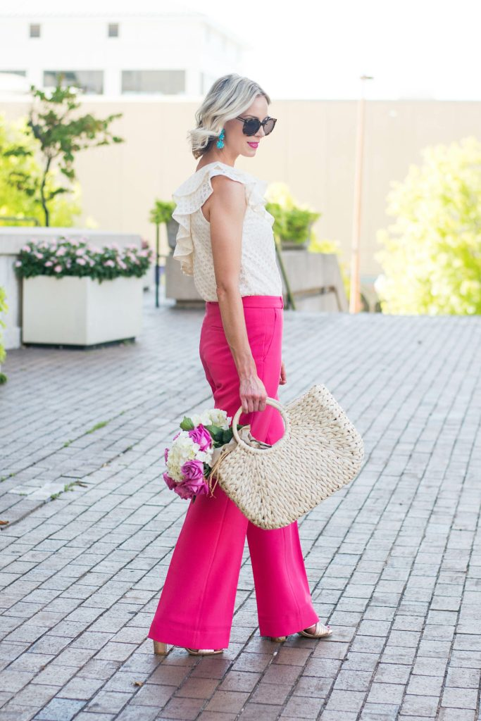 dressy pink pants and cream ruffle top, bright summer dressy pants outfit