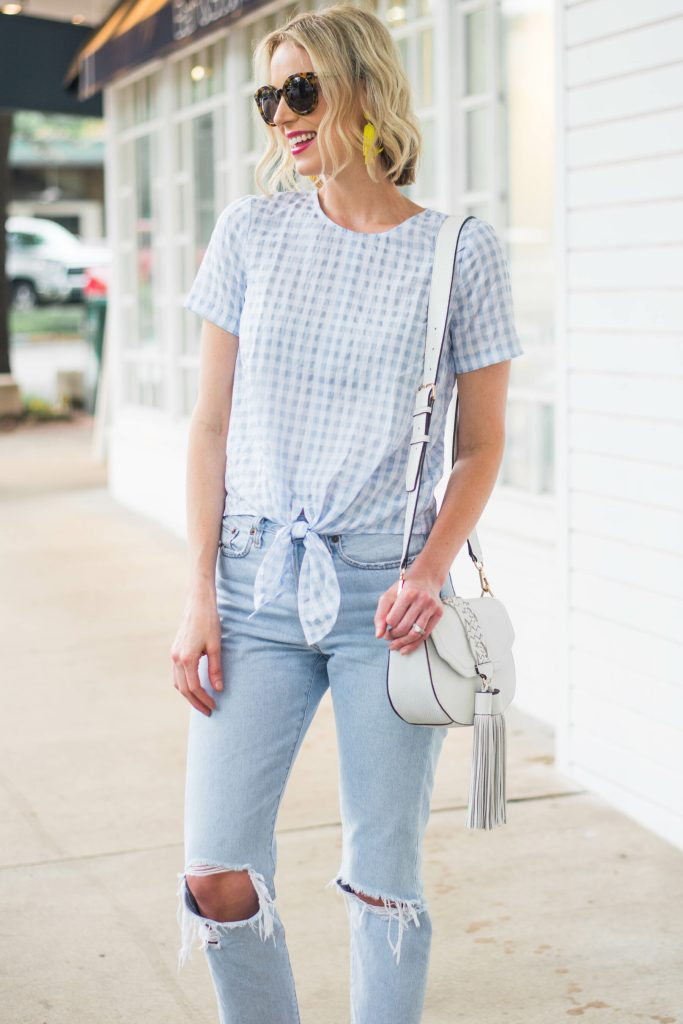 light blue and white gingham top
