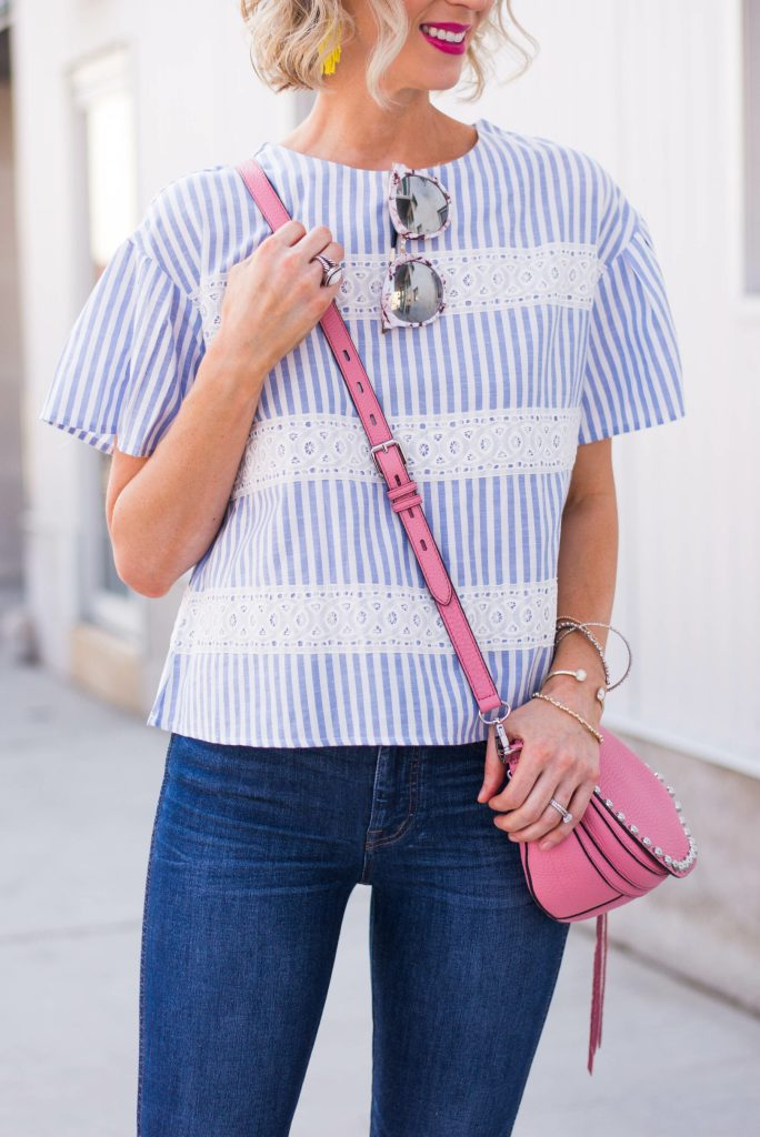 blue and white striped top with pretty lace detailing