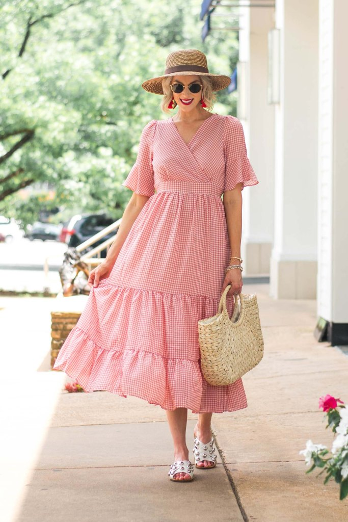 red gingham midi dress styled for summer