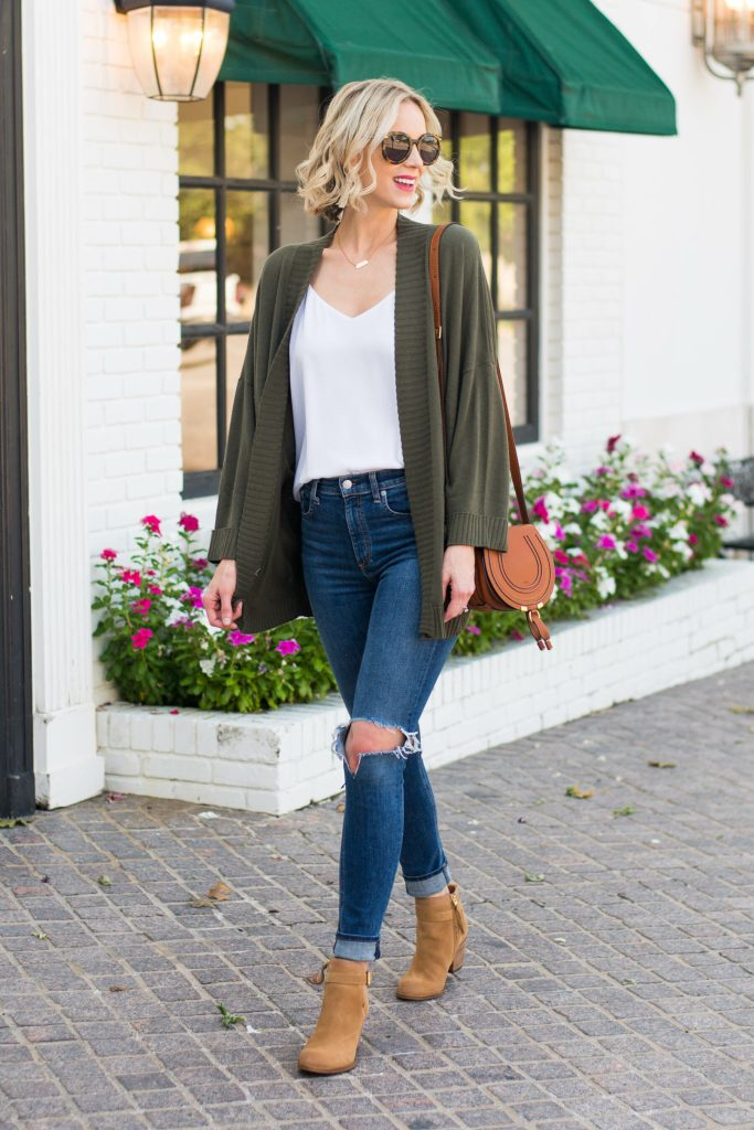 distressed jeans, olive cardigan, tan ankle boots